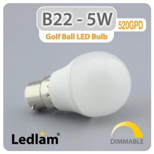 Ledlam B22 LED Golf Ball Bulb 5W 520GPD dimmable 01 1
