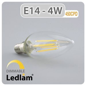 Ledlam E14 450CPD 4W LED Filament Candle Bulb dimmable 01 1