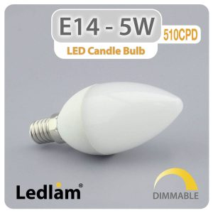 Ledlam E14 LED Candle Bulb 5W 510CPD dimmable 01 1
