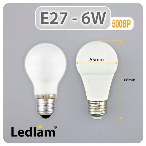 Ledlam E27 500BP 6W LED Bulb Dimensions 1