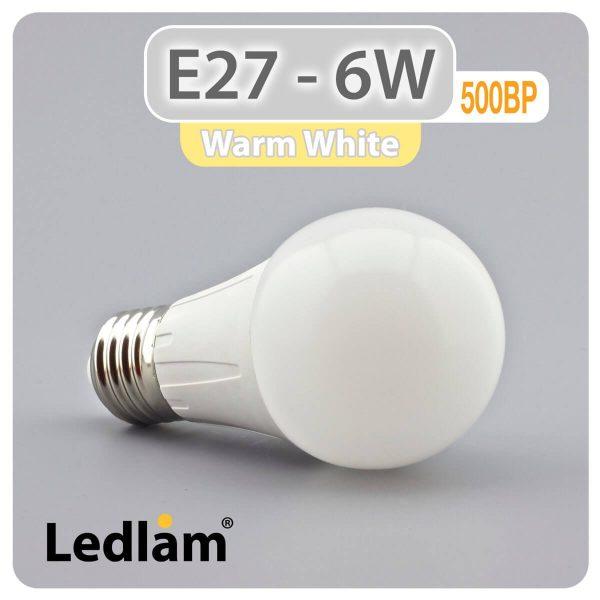 Ledlam E27 500BP 6W LED Bulb Warm White 30328 1