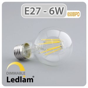 Ledlam E27 650BPD 6W LED Filament Bulb dimmable 01 1