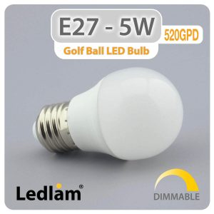 Ledlam E27 LED Golf Ball Bulb 5W 520GPD dimmable 01 1