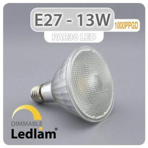 Ledlam E27 PAR30 LED Reflector Bulb 13W 1000PPGD dimmable 01 1