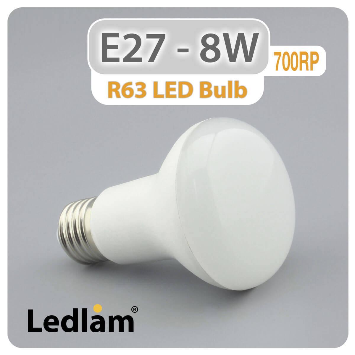 E27 R63 Led Reflector Bulb 8w 700rp Ledlam Lighting