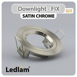 Ledlam GU10 Downlight Cast Aluminium Fix Twist Lock Satin Chrome 30534 01