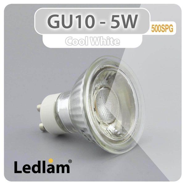Ledlam GU10 LED Spot Light 5W COB 500SPG Cool White 30982 2