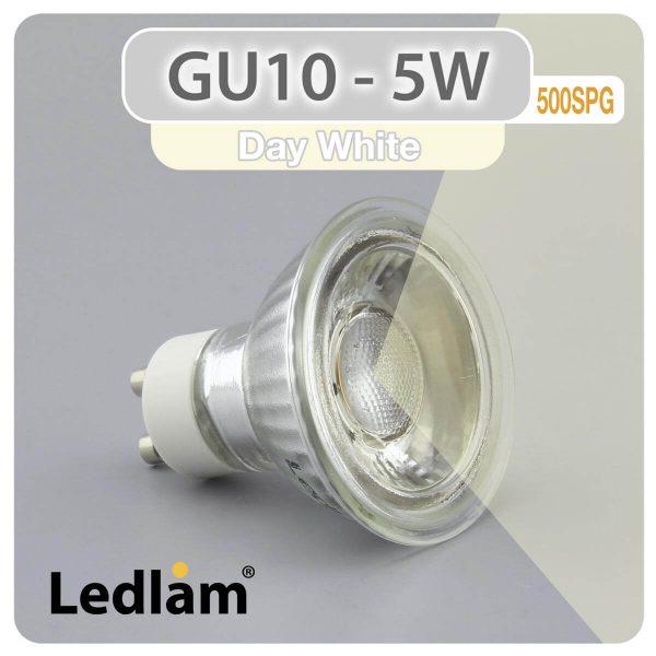 Ledlam GU10 LED Spot Light 5W COB 500SPG Day White 30981 2