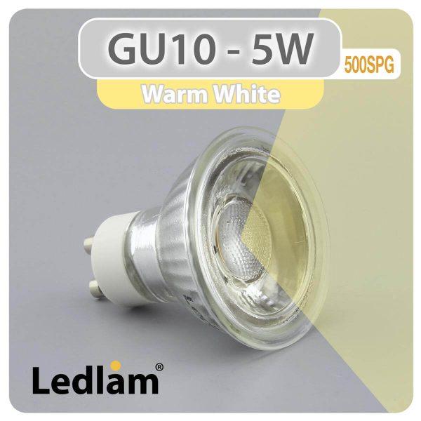 Ledlam GU10 LED Spot Light 5W COB 500SPG Warm White 30980 2