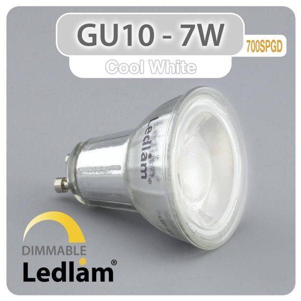 Ledlam GU10 LED Spot Light 7W COB 700SPGD dimmable Cool White 30988 1