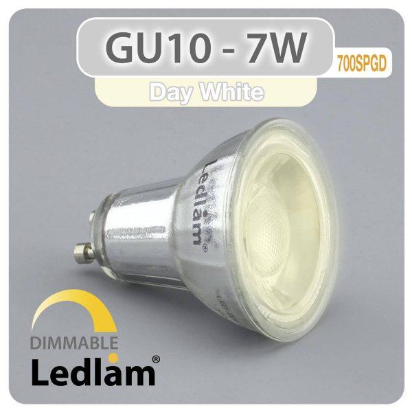 Ledlam GU10 LED Spot Light 7W COB 700SPGD dimmable Day White 30987 1