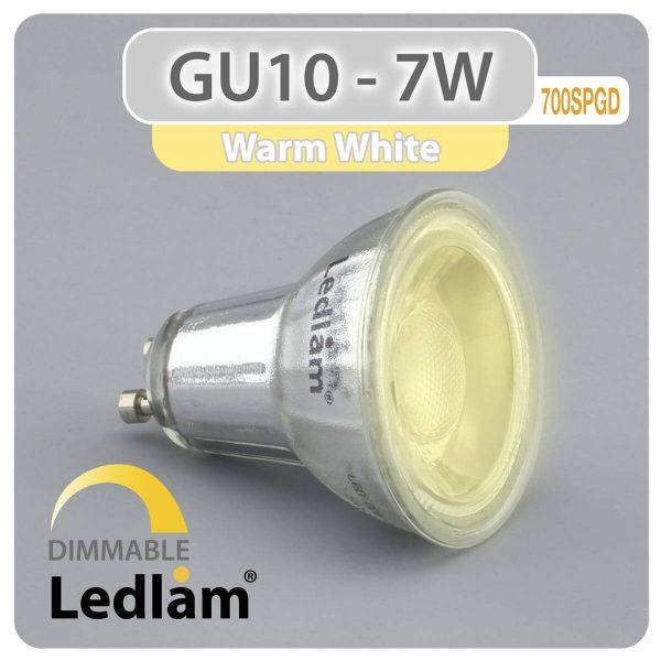 Ledlam GU10 LED Spot Light 7W COB 700SPGD dimmable Warm White 30986 1