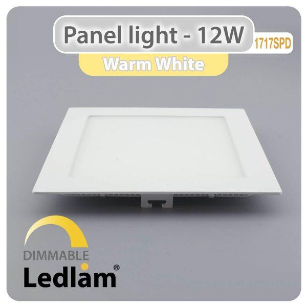 Ledlam LED Panel Light 12W Square 1717SPD dimmable Warm White 30397