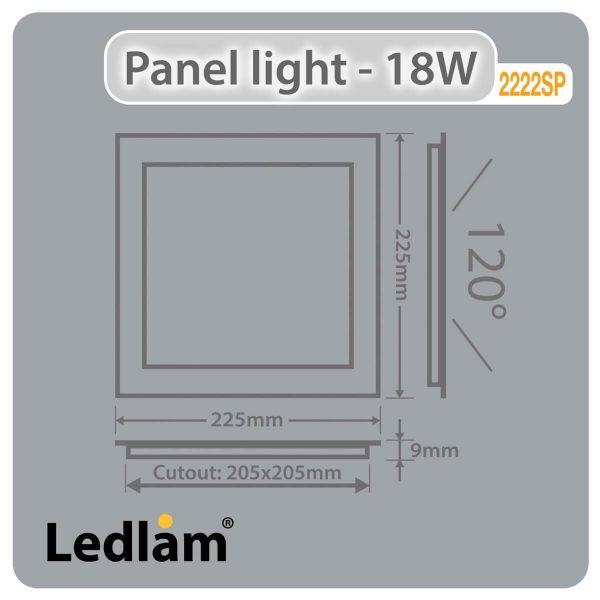 Ledlam LED Panel Light 18W Square 2222SP silver Dimensions