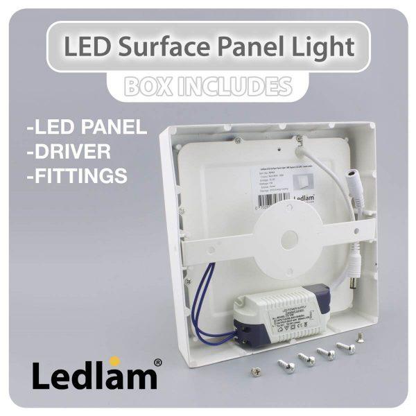 Ledlam LED Surface Panel Light 12W Square 1717SPS 02