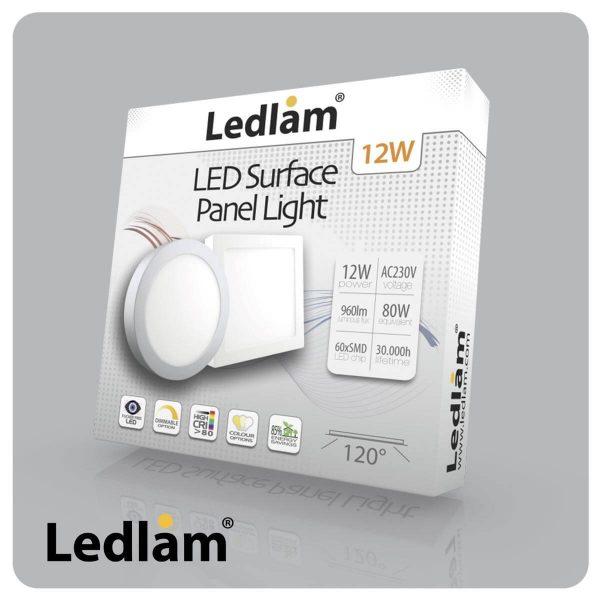 Ledlam LED Surface Panel Light 12W Square 1717SPS 06