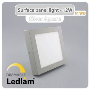 Ledlam LED Surface Panel Light 12W Square 1717SPSD silver dimmable 01