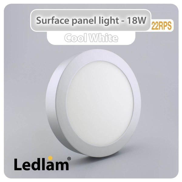 Ledlam LED Surface Panel Light 18W Round 22RPS silver Cool White 30570