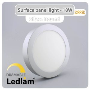 Ledlam LED Surface Panel Light 18W Round 22RPSD silver dimmable 01