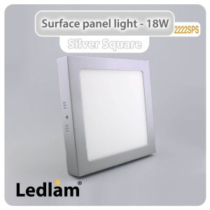 Ledlam LED Surface Panel Light 18W Square 2222SPS silver 01