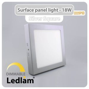Ledlam LED Surface Panel Light 18W Square 2222SPSD silver dimmable 01
