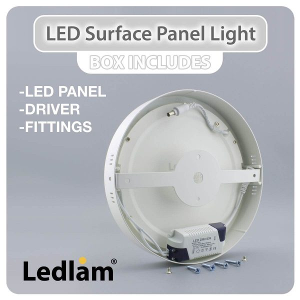 Ledlam LED Surface Panel Light 24W Round 30RPS 02