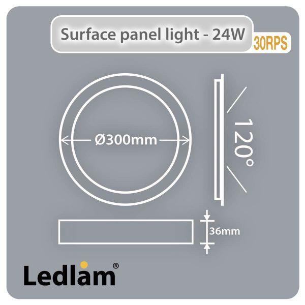 Ledlam LED Surface Panel Light 24W Round 30RPS Dimensions