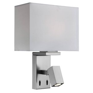 Searchlight ADJUSTABLE WALL 2 LIGHT WALL BRACKET SATIN SILVER FABRIC WHITE SHADE 0882SS 01