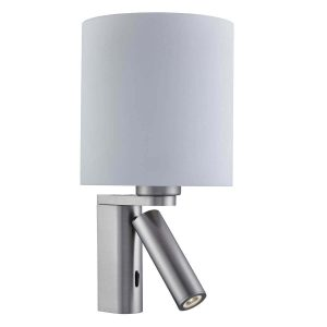 Searchlight ADJUSTABLE WALL 2 LIGHT WALL BRACKET SATIN SILVER WHITE GLASS SHADE 0991SS 01