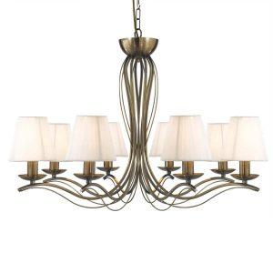 Searchlight ANDRETTI 8 LIGHT CEILING ANTIQUE BRASS CREAM STRING SHADES 9828 8AB 01 1