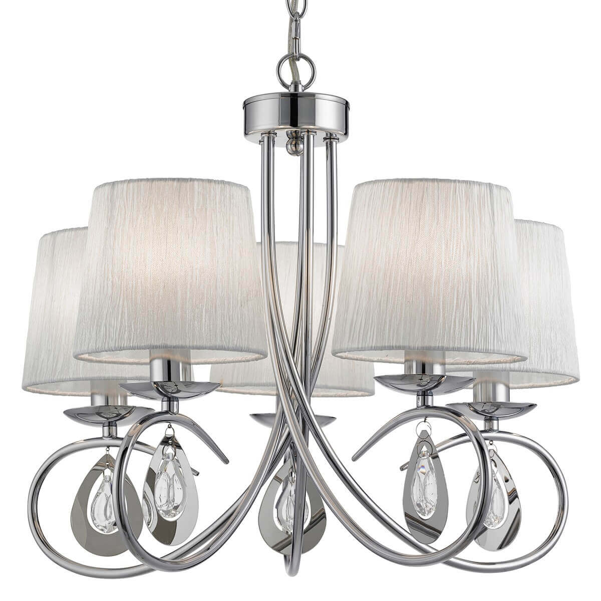 Angelique 5 Light Ceiling Chrome White Shades Clear