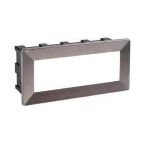 Searchlight ANKLE LED INDOOR OUTDOOR RECESSED RECTANGLE CHROME OPAL WHITE DIFFUSER 0762 01