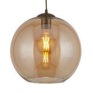 Searchlight BALLS 1 LIGHT ROUND PENDANT 25cm dia AMBER GLASS ANTIQUE BRASS 1621AM 01 1