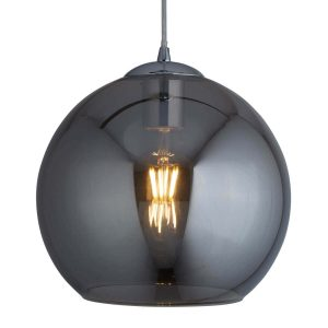 Searchlight BALLS 1 LIGHT ROUND PENDANT 25cm dia SMOKED GLASS CHROME 1621SM 01 1