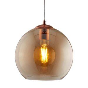 Searchlight BALLS 1 LIGHT ROUND PENDANT 30cm dia AMBER GLASS ANTIQUE BRASS 1632AM 01 1
