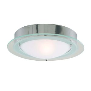 Searchlight BATHROOM IP44 1 LIGHT CHROME FLUSH CLEAR OPAL GLASS 3108CC 01 1