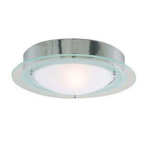 Searchlight BATHROOM IP44 1 LIGHT CHROME FLUSH CLEAR OPAL GLASS 3108CC 01 1