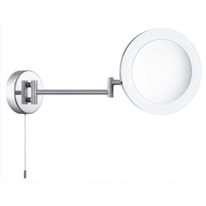 Searchlight BATHROOM SHAVING MIRROR 3 x MAGNIFICATION IP44 CHROME FROSTED OUTER 1456CC 01