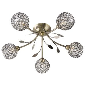 Searchlight BELLIS II 5 LIGHT CEILING SEMI FLUSH ANTIQUE BRASS CLEAR GLASS DECO SHADE 6575 5AB 01 1