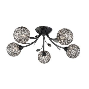 Searchlight BELLIS II 5 LIGHT CEILING SEMI FLUSH BLACK CHROME CLEAR GLASS DECO SHADE 6575 5BC 01 1