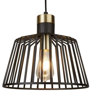 Searchlight BIRD CAGE 1 LIGHT PENDANT BLACK AND GOLD 9411BK 01 1