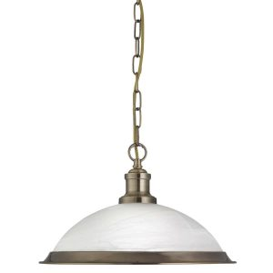 Searchlight BISTRO 1 LIGHT PENDANT ANTIQUE BRASS MARBLE GLASS 1591AB 01 1