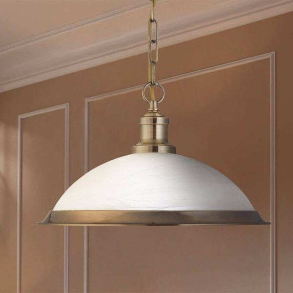 Searchlight BISTRO 1 LIGHT PENDANT ANTIQUE BRASS MARBLE GLASS 1591AB 02 1
