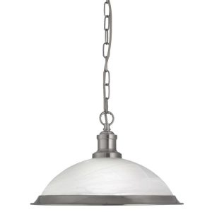 Searchlight BISTRO 1 LIGHT PENDANT SATIN SILVER MARBLE GLASS 1591SS 01 1