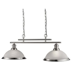 Searchlight BISTRO 2 LIGHT CEILING BAR SATIN SILVER MARBLE GLASS 2682 2SS 01