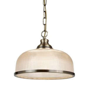 Searchlight BISTRO II 1 LIGHT PENDANT ANTIQUE BRASS HALOPHANE GLASS 1682AB 01 1