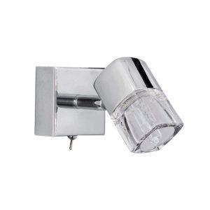 Searchlight BLOCS 1 LIGHT SPOTLIGHT WALL BRACKETRACKET CHROME CLEAR GLASS ICE CUBE 9881CC LED 01
