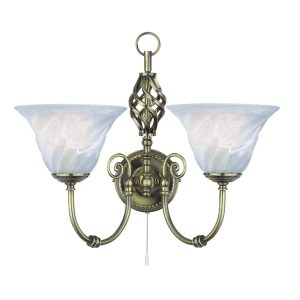 Searchlight CAMEROON 2 LIGHT ANTIQUE BRASS WALL BRACKET CW MARBLE GLASS 972 2 01