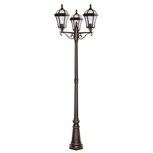 Searchlight CAPRI 3 LIGHT OUTDOOR POST HEIGHT 235cm RUSTIC BROWN CLEAR GLASS 1569 3 01