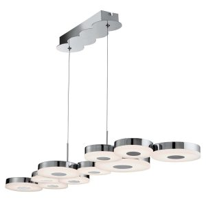 Searchlight CHROMIA LED 10 DISC CEILING BAR CHROME FROSTED ACRYLIC 60210 10CC 01